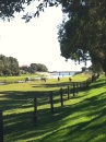 Looking towards the ocean on bike path along the River Torrens, Adelaide